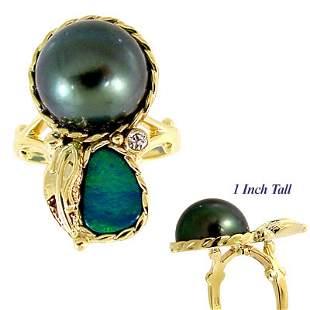 12.5mm Tahitian 1/2 pearl opal dia leaf ring