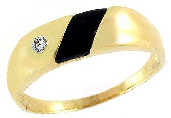 3022: 10YG Black Onyx Diamond unisex ring