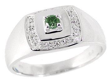 3023: WG .20ct blue white diamond mans ring