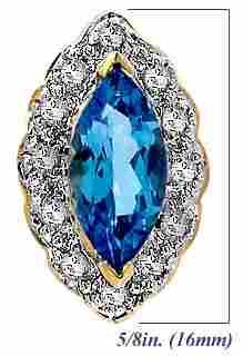 1.20ct Blue Topaz marquise .13 Dia pendant