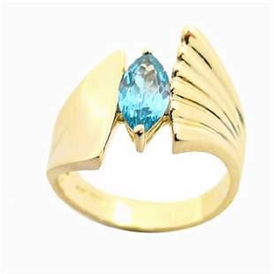 YG 1.14Ct Blue Topaz ring