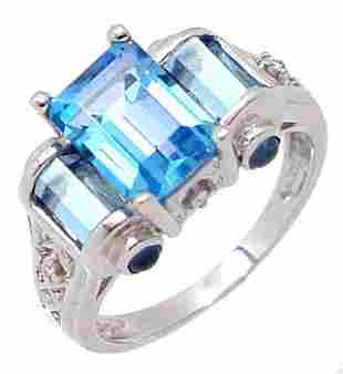14KW 3ct Blue Topaz Diamond toggle ring