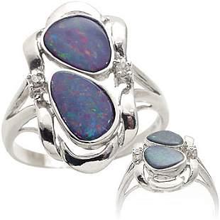 WG 1.25ct 2 Boulder opal bezel bypass di ring
