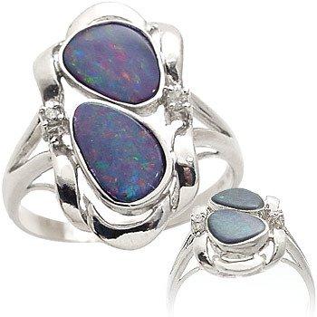 3028: WG 1.25ct 2 Boulder opal bezel bypass di ring