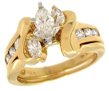 3033: 14YG 1ct Diamond marquise wedding set ring