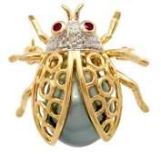 3114: 10/11m Tahitian Pearl Diamond Ladybug Pin