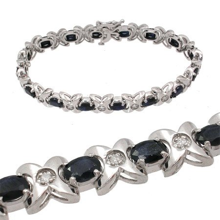 3143: 14WG 9.20ct Sapphire .36ct Diamond Bracelet