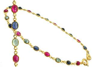 18KY 3cttw ruby multi sapphire bracelet 7inch
