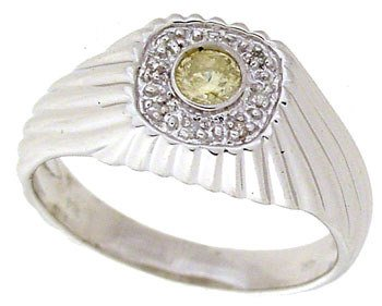 4005: 14WG .20ct diamond bezel dome mans ring