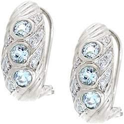 WG .75ct aquamarine rd diamond omega earring