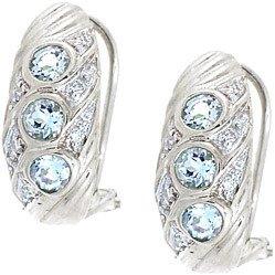 4007: WG .75ct aquamarine rd diamond omega earring