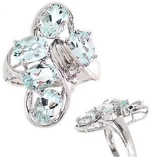 WG 3.5c Aquamarine 5oval cluster diamond ring