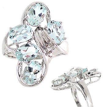 4008: WG 3.5c Aquamarine 5oval cluster diamond ring