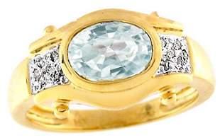 14KY 1ct Aquamarine bezel .05 dia ring