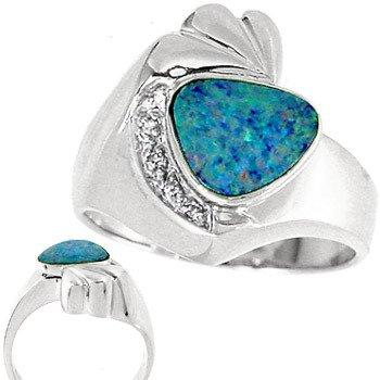 4020: WG 1ct Boulder Opal .01 Diamond ring