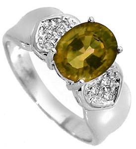 4034: WG 2ct Golden Tourmaline diamond pavé ring