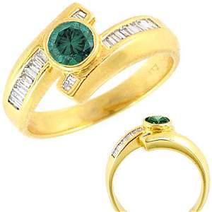 4168: 18kt .55ct blue diamond bez/.46 dia bagg ring