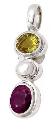 Sterling Silver Ruby Citrine & Pearl Pendant