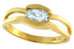 4142: 14KY .50ct Aquamarine oval bezel band ring