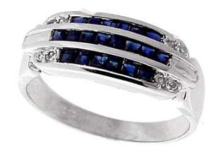 14WG .60ct sapphire channel diamond band ring