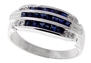 5002: 14WG .60ct sapphire channel diamond band ring