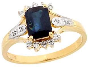 14KY 1.14ct Sapphire ecut .16 diamond ring