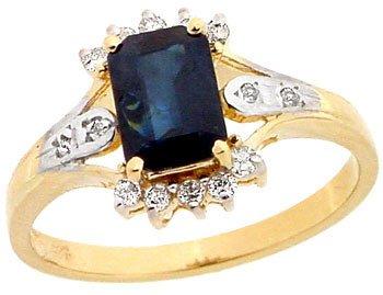 5003: 14KY 1.14ct Sapphire ecut .16 diamond ring