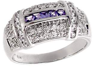 WG .75ct Tanzanite Sapphire Diamond ring