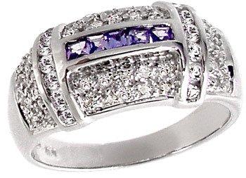 5006: WG .75ct Tanzanite Sapphire Diamond ring