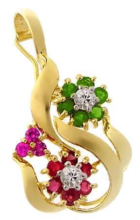 14KY .85ct Tsavorite Ruby Saph pendant