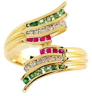 DiamondTsavorite Pink Saph bypass ring