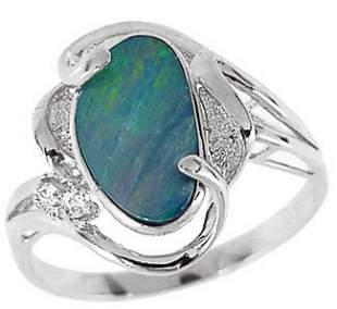 WG 1.33ct Boulder opal bezel diamond ring