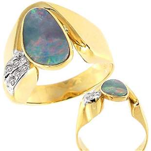 1ct Boulder opal bezel diamond ring