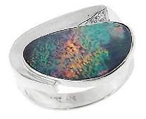 5083: WG 3ct Boulder opal bezel diamond ring
