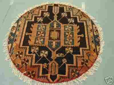 Round Persian Serapi Rug 4x4