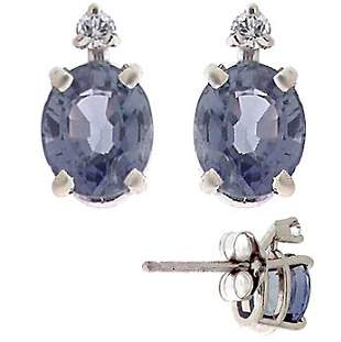 1.15ctw Montana Sapphire/Diamond Stud Earrings