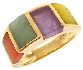 9: 14YG multi color jade band ring