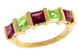 14KY 1.61ct Garnet Peridot Princess Ring