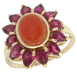 14KY Carnelian Rhodolite Garnet ring