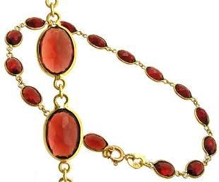 18KY 8ct Garnet oval link barcelet 7 inch