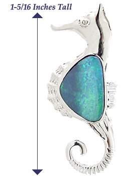 14WG 2ct Opal diamond seahorse Pin/Pendant
