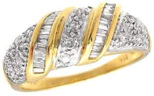 18KY .33ct Diamond bagg/rd band ring