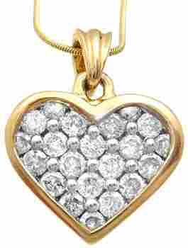 14kt 1cttw Diamond Heart Pendant w/Chain