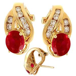 36: 14KY 2ct Ruby .32ct diamond earring