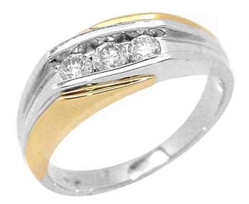 38: 14WG .25ct Diamond mans two tone ring