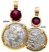 104: 14YG/SS Alexander Great Coin 3ct Ruby Pendant
