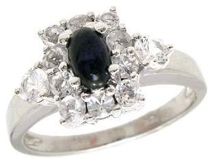 14KW 1.07ct Blue Cab White Sapphire band ring