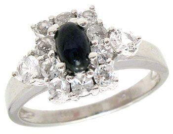 1002: 14KW 1.07ct Blue Cab White Sapphire band ring