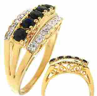 14KY .75cttw sapphire diamond antique band ring