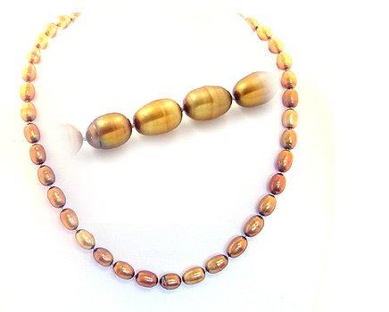 1004: 8/8.5mm bronze drop shape 16inch necklace